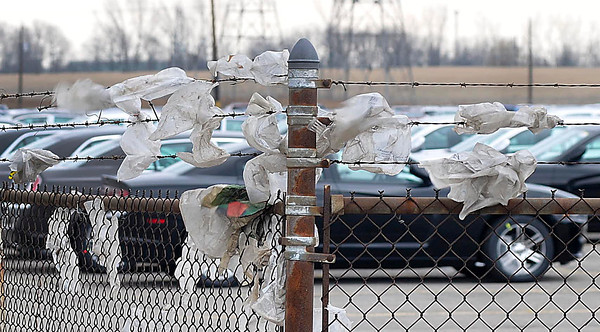 James Neiss/staff photographerNiagara Falls, NY - Saturdays high winds helpd all these bags find there way to the fence line of a business in the 4600 block of Witmer Road.
