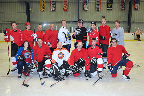 James Neiss/staff photographerNiagara Falls, NY - Members of the Niagara Falls Fire Department hockey team practice at Hyde Park for the big game against the Niagara Falls Police Department.