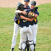 James Neiss/staff photographerNiagara Falls, NY - Niagara Falls boys baseball players #16 Joseph DeAngelo, #34 Joseph Colosi and #18 Christopher Cardona celebrate after winning the Class AA semifinal against Orchard Park.