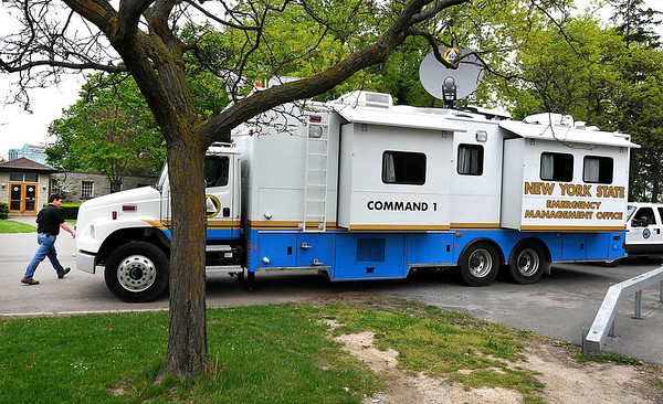 James Neiss/staff photographerNiagara Falls, NY - Mobile Command 1 of the New York State Emergency Management Office is on Goat Island in preparation for Daredevil Nik Wallenda's walk across the Niagara Gorge.