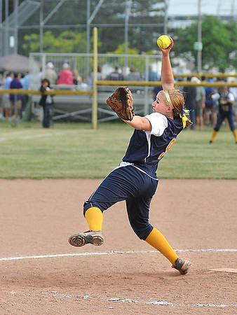 James Neiss/staff photographerNiagara Falls, NY - Niagara Falls Girls Softball player #9 Kelsi Leo throws a ball to a Williamsville North batter during softball game action in the Class AA semifinal.