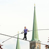 James Neiss/staff photographerNiagara Falls, NY - The steeples from Saint Mary of the Cataract tower behind daredevil Nik Wallenda as he practices walking the high-wire in front of the Seneca Niagara Casino & Hotel, before his big walk across the Niagara Gorge in June.