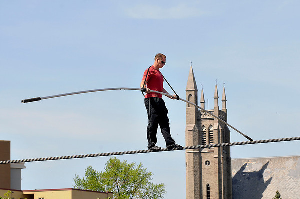 James Neiss/staff photographerNiagara Falls, NY - Daredevil Nik Wallenda gains a little height on his practice walk on the high wire at the Seneca Niagara Casino & Hotel on Saturday.