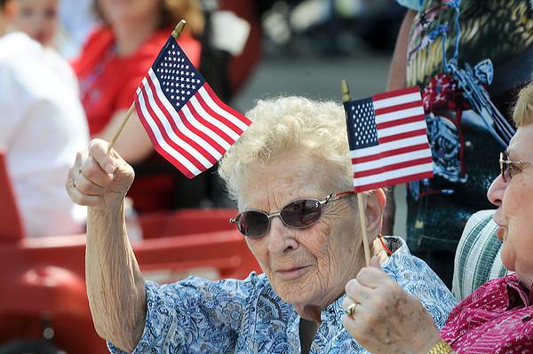 James Neiss/staff photographerNiagara Falls, NY - Barbara Shedd and Juanita MacCarl, both of Lewiston, show their patriotism during the Niagara Falls Memorial Day parade on Pine Avenue.