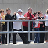 James Neiss/staff photographerNiagara Falls, NY - The crowd applauds Daredevil Nik Wallenda at the end of his first training session on the 2 inch diameter highwire at the Seneca Niagara Casino & Hotel on Saturday.