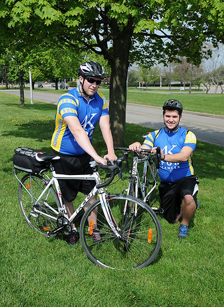 James Neiss/staff photographerLewiston, NY - Niagara University junior Vince Schiano and senior Chris Zukas will be riding in the 4K for Cancer fundraiser starting in Baltimore and ending in San Francisco for Shiano and ending in Portland, Oregon for Zukas.