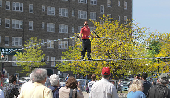 James Neiss/staff photographerNiagara Falls, NY - Nik Wallenda practices in front of a crowd in May.