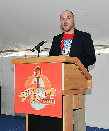 James Neiss/staff photographerNiagara Falls, NY - Global Spectrum's Ryan Coate, general manager of Old Falls Street, USA and the Conference & Event Center Niagara Falls announces the summer activities that will be held on Old Falls Street this year.