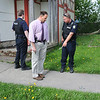 James Neiss/staff photographerNiagara Falls, NY - Niagara Falls Police Officers Scott Warme, left , Mike Corcoran, right, and Detective Dan Dobrasz, center, found blood splatter in the 400 block of 20th Street after a shooting on Niagara Street in between 19th and 20th Streets Thursday morning.