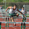 James Neiss/staff photographerLewiston, NY - Lewiston Porter track athlete Dylan Krueger clears a hurdle in the 110 high hurdles race against Grand Island.