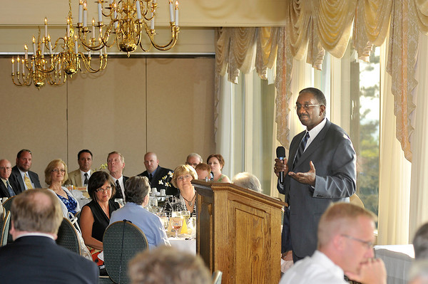 James Neiss/staff photographerLewiston, NY - Lloyd W. Brown, MD, chief of the department of Emergency Medicine/EmStar, welcomes area first responders to the Mount St. Mary's Hospital and Health Center Salute to Niagara's Emergency Medical Services' Personnel dinner at the Niagara Falls Country Club.