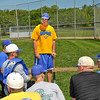 James Neiss/staff photographerSanborn, NY - Niagara County Community College baseball coach Matt Clingersmith talks to his team before practice The team is getting in one more practice before heading to the nationals in Texas.