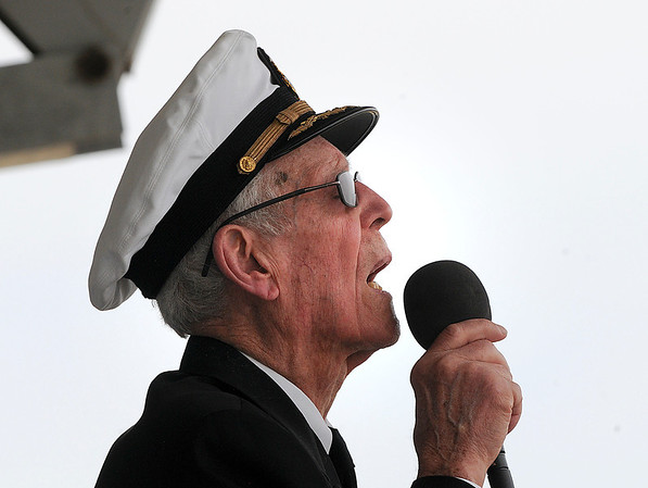 James Neiss/staff photographerNiagara Falls, NY - World War II and Korean War veteran Rocco La Rocco, a 96-year-old retired Navy Captain, recites the poem Flanders Field, during Memorial Day services at Hyde Park on Saturday.