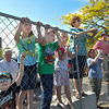 James Neiss/staff photographerNiagara Falls, NY - Wallenda fans, from left, Aidan Pasisz,8, of Niagara Falls, Alexandria Sorge, 8, and brother James, 6, both of Wheatfield, Aurora Lambert, 6 of Niagara Falls and Theresa Sullivan of Orchard Park, find a good spot along 3rd Street to view the high-wire walker during his afternoon practice. Plans to have firefighters spraying water and wind from a swamp boat engine fell through.
