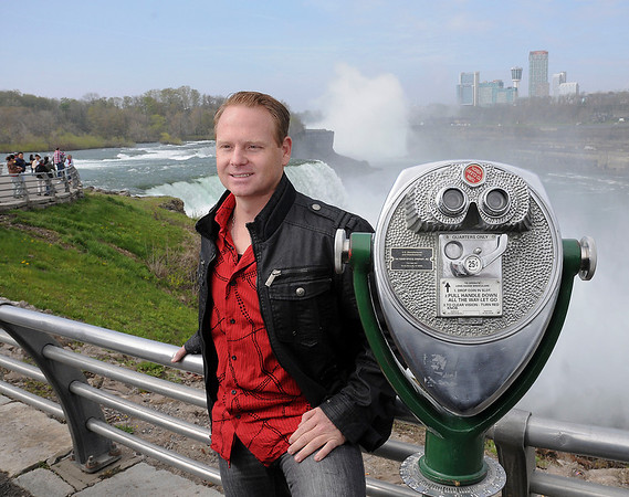 James Neiss/staff photographerNiagara Falls, NY - Tightrope walker Nik Wallenda possed for pictures after announcing his plan to walk across the Niagara Gorge Friday, June 15, during a press conference at Prospect Point, Niagara Falls State Park.