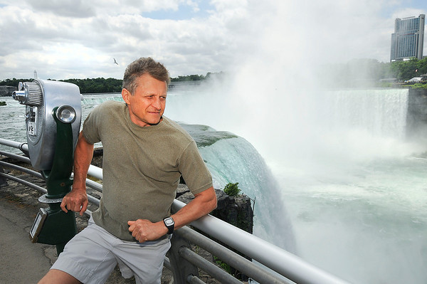 James Neiss/staff photographerNiagara Falls, NY - Standing approximately where high-wire walker Nik Wallenda's 2 inch wire will cross the Niagara Gorge, former Russian circus acrobat Vladimir Anoufriev says Wallenda's biggest challenge will be the wind as he crosses.
