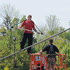 James Neiss/staff photographerNiagara Falls, NY - Daredevil Nik Wallenda stops his first training walk about ⅓ of the way to the end between 3rd and 4th Streets at the Seneca Niagara Casino & Hotel on Saturday.