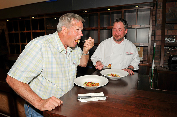 James Neiss/staff photographerLewiston, NY - Lewiston Town Supervisor Steve Reiter was treated to BBQ Shrimp & White Cheddar Grits from Chef Tom McCormick of the Town Hall American restaurant scheduled to open in June at 453 Center Street.