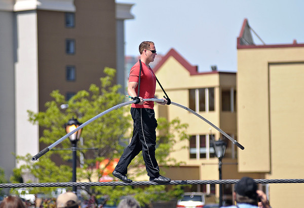 James Neiss/staff photographerNiagara Falls, NY - Daredevil Nik Wallenda walks the 2 inch diameter highwire for the first time in front of a crowd between 3rd and 4th Streets at the Seneca Niagara Casino & Hotel on Saturday. Wallenda, said the daily practice will help him build confidence in walking the free swinging 2 inch diameter wire.