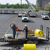 James Neiss/staff photographerNiagara Falls, NY - Crews work at setting up a practice site for Nik Wallenda at the Seneca Niagara Casino & Hotel, on the site of the old Lackey Plaza along 3rd Street. Wallenda is scheduled to begin practicing at 10:30 a.m. this Saturday.