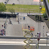 James Neiss/staff photographerNiagara Falls, NY - A birdseye view from the Seneca Building shows off the practice site of High-wire walker Nik Wallenda in front of the Niagara Seneca Casino.