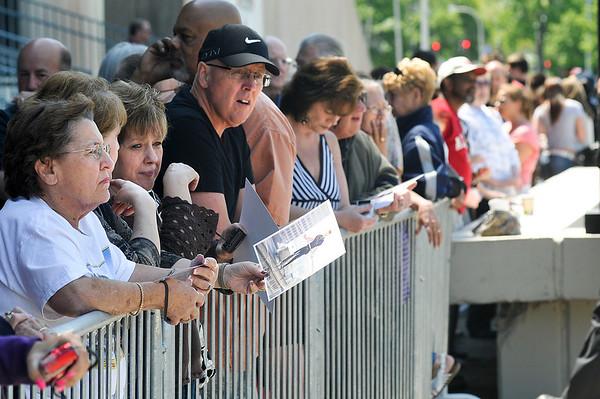 James Neiss/staff photographerNiagara Falls, NY - Fans wait to hear and get autographs from high-wire walker Nik Wallenda in front of the Seneca Niagara Casino.