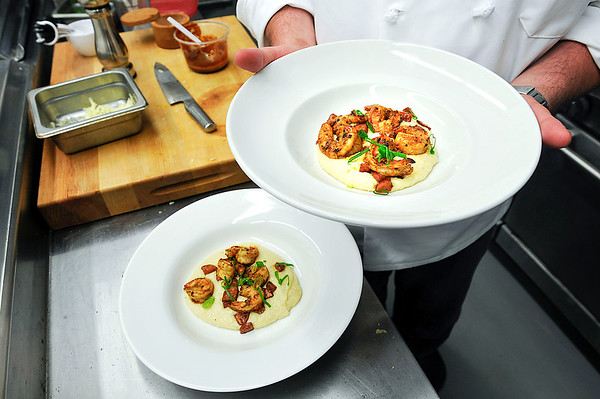 James Neiss/staff photographerLewiston, NY - BBQ Shrimp & White Cheddar Grits by Chef Tom McCormick of the Town Hall American restaurant, scheduled to open in June at 453 Center Street.