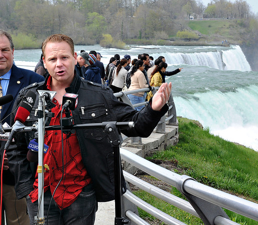 James Neiss/staff photographerNiagara Falls, NY - Tightrope walker Nik Wallenda announces his plan to walk across the Niagara Gorge Friday, June 15, during a press conference at Prospect Point, Niagara Falls State Park.
