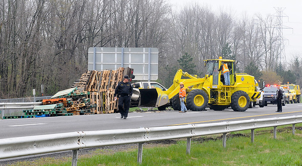 James Neiss/staff photographerGrand Island, NY - A truck in the northbound lane of the I-190 lost its load of pallets just before crossing over the North Grand Island bridge into Niagara Falls Tuesday morning.