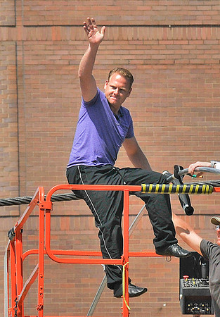 James Neiss/staff photographerNiagara Falls, NY - Daredevil high-wire walker Nik Wallenda waves goodbye to his fans on the last day of practice in Niagara Falls before his attempted walk across the Niagara Gorge scheduled for June 15.