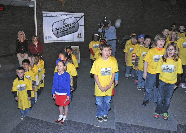 "James Neiss/staff photographerNiagara Falls, NY - Second and third grade students recite the poem ""Veterans' Day"" during the Take a Vet to School Day Program at Harry F. Abate Elementary School."