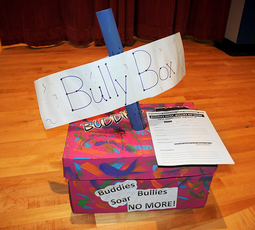 James Neiss/staff photographerNiagara Falls, NY -  A Bully Box like this one at the Niagara Street Elementary School,  is a good tool to anonymously report bullying. Joseph Lowery, coordinator of the Niagara Christian Basketball Association, used this, signs and more during a photo session to make anti-bullying public service announcements (PSA's) with the help of students at the Niagara Street School and local dignitaries.