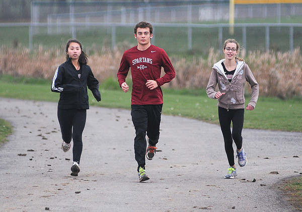 James Neiss/staff photographerPendleton, NY - Starpoint High School cross country runners, from left, Livia Chase, Matt Prohaska and Sophia Tasselmyer are all running in the State meet this Saturday.