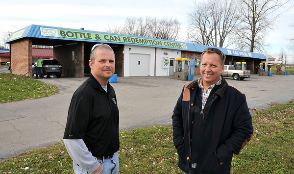 James Neiss/staff photographerNiagara Falls, NY - Jerry Senske, left, and Scott Kobryn, co-owners of the ECO Centers Bottle & Can Redemption Center and Car Wash,  Just opened a redemption center at 2 of their 3 car wash locations in Niagara Falls.