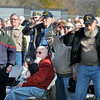 James Neiss/staff photographerNiagara Falls, NY - Veterans honor the flag during the playing of the National Anthem at the 2012 Niagara Falls Veterans Day Ceremony at Hyde Park.