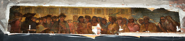 James Neiss/staff photographerNiagara Falls, NY - The mural in what once was the Indian Room is one of the few reminders of the past glory of Hotel Niagara. Owner Harry Stinson gave Members of Preservation Buffalo Niagara a tour of the hotel on Monday.