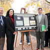 Photo by Brian Rock, Niagara UniversityBrian Merrett, C.E.O. of the 1812 Bicentennial Legacy Council, Arlene White, executive director of the Binational Tourism Alliance, Dr. Thomas Chambers, chair of Niagara University's history department, and the Rev. Joseph L. Levesque, C.M., NU president, spoke during Monday's unveiling of a commemorative plaque for the Niagara University 1812 Bicentennial Peace Garden. The garden commemorates the 200 years of peace between Canada and the United States following the War of 1812.