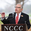 James Neiss/staff photographerSanborn, NY - Keynote speaker Dr. Patrick Welch, former Marine, Erie County Veterans Services director and NCCC graduate, honors those who served their country during the Veterans Day Ceremony at Niagara County Community College.