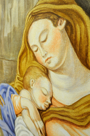 """James Neiss/staff photographerBuffalo, NY - The virgin Mary and baby Jesus are depicted in a painting by artist Roman Kujawa, commissioned for the St. Joseph's Church in Niagara Falls. The painting is titled """"Rest: Flight to Egypt"""" and is painted in a 18th century style, said Kujawa."""