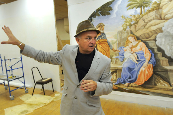 James Neiss/staff photographerBuffalo, NY - Artist Roman Kujawa, who has been commissioned to create religious paintings for St. Joseph's Church in Niagara Falls, said there are several panels being installed.