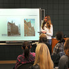 James Neiss/staff photographerNiagara Falls, NY - Charlyn Behling, a student from Ernestinenschule, Lubeck, Germany talks about her school during a Townhall style meeting with students at Lewiston-Porter High School.