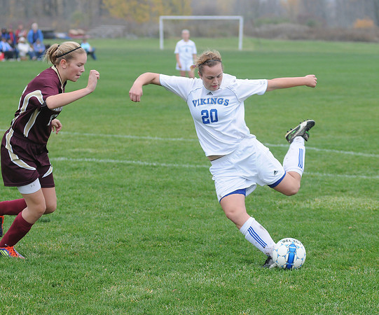 James Neiss/staff photographerGrand Island, NY - Grand Island #20 Julia Kelly winds up to kick the ball during soccer game action against Cheektowaga in the Section VI Class A Pre-Quarterfinal.
