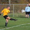 James Neiss/staff photographerWilson, NY - Wilson girls soccer goalie Grace Adams kicks the ball during game action against Newfane.