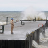James Neiss/staff photographerWilson, NY - Donald Wiltse of the Village of Wilson, took a walk out onto the Wilson Pier to see how the weather was effecting the waves around 2 p.m. on Monday.