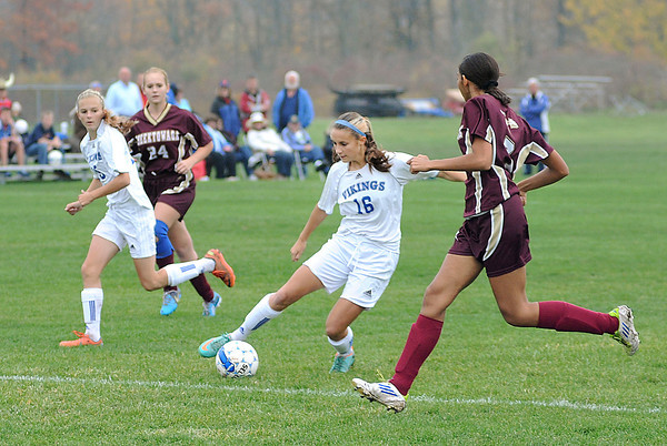 James Neiss/staff photographerGrand Island, NY - Grand Island #16 Madisyn Pezzino handles the ball during soccer game action against Cheektowaga in the Section VI Class A Pre-Quarterfinal.