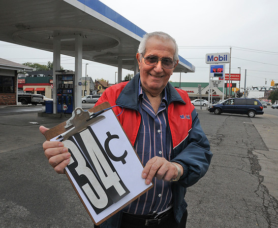 James Neiss/staff photographerNiagara Falls, NY -  Bruno's Mobil on Pine Avenue is celebrating it's 50th birthday. Owner Joe Burno, said gas was only 34¢ a gallon back on October 1, 1962, when at age 25 he opened the station.