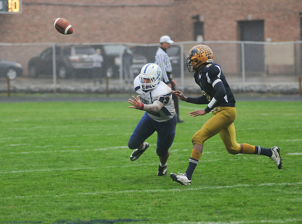 James Neiss/staff photographerAmherst, NY - A pass intended for Grand Island #23 slips through his fingers in the 2nd quarter of football game action against Sweet Home.