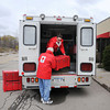 James Neiss/staff photographerNiagara Falls, NY - Disaster Relief volunteer Paul Catherine of Niagara Falls, assists Coordinator of Emergency Services Lisa Taibi, as they prepare the Niagara Falls American Red Cross Disaster Relief Truck, that is being deployed to help with the hurricane Sandy cleanup in New York City.  Taibi, said she will deliver the truck to  the American Red Cross, serving Erie & Niagara Counties, in Buffalo, where a crew will be paired with a crew.