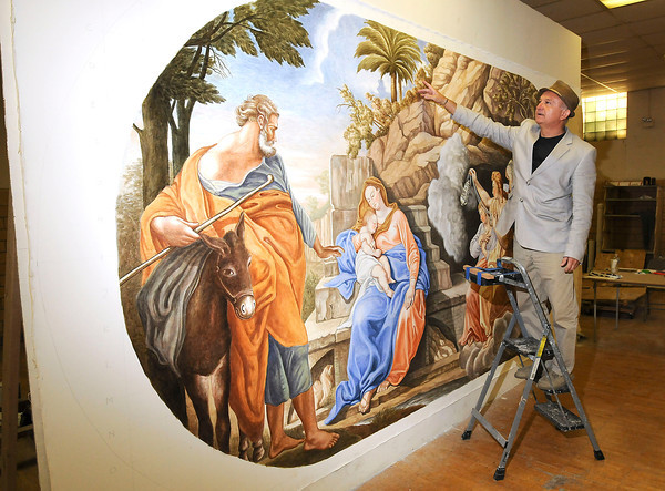 """James Neiss/staff photographerBuffalo, NY - Artist Roman Kujawa has been commissioned to create religious paintings for St. Joseph's Church in Niagara Falls. The panel behind is titled """"Rest: Flight to Egypt"""" and is painted in a 18th century style, said Kujawa."""