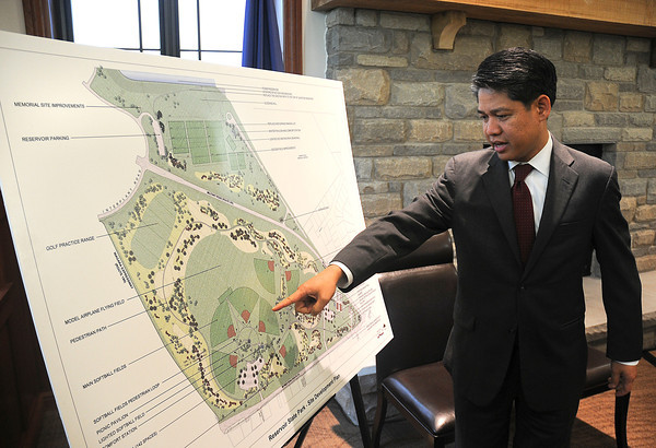 James Neiss/staff photographerNiagara Falls, NY - New York Power Authority President & CEO Gil C. Quiniones points out some of the key features in the $6 million upgrade to Reservoir State Park funded by NYPA as part of their relicensing agreement.